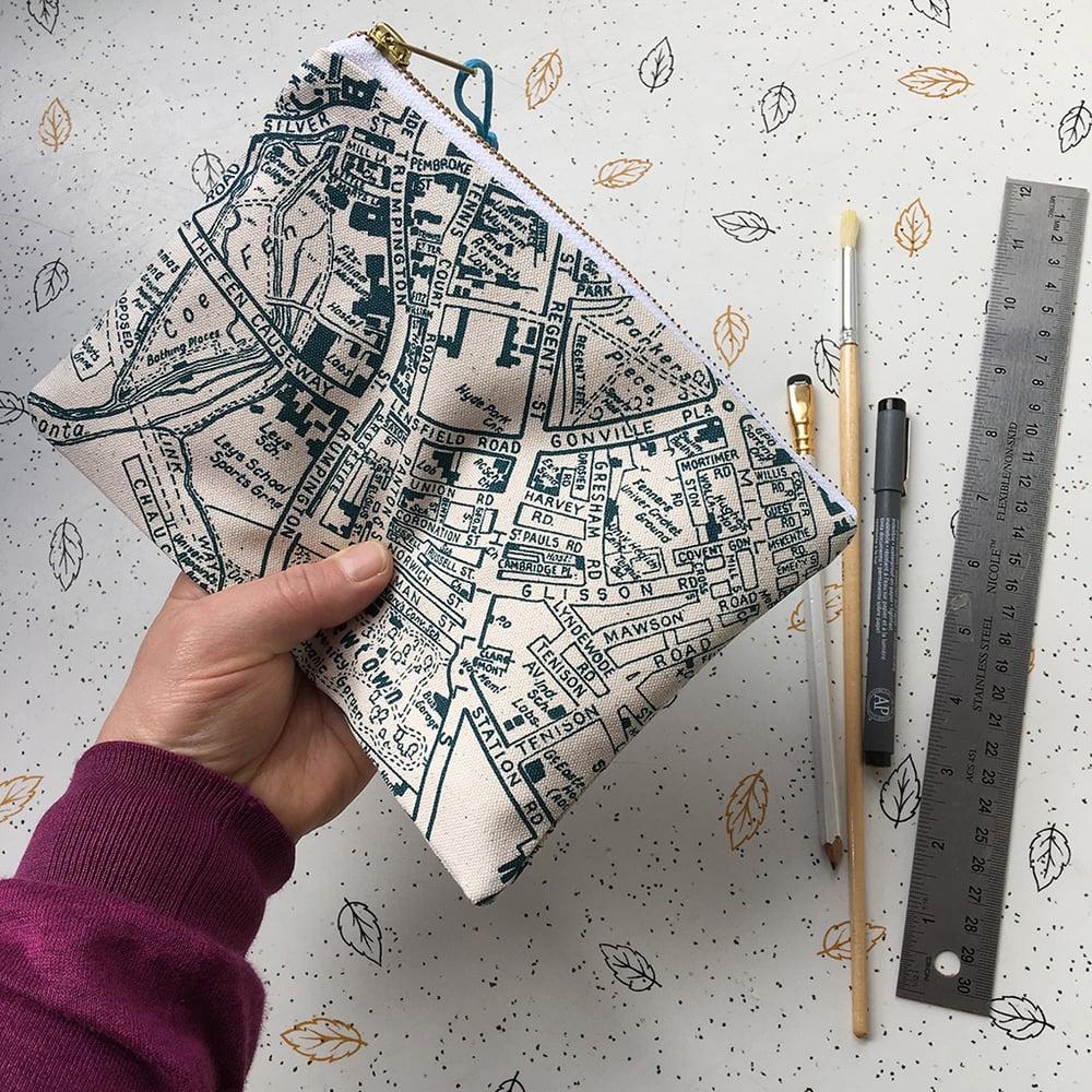 Image of Cambridge map clutch purse
