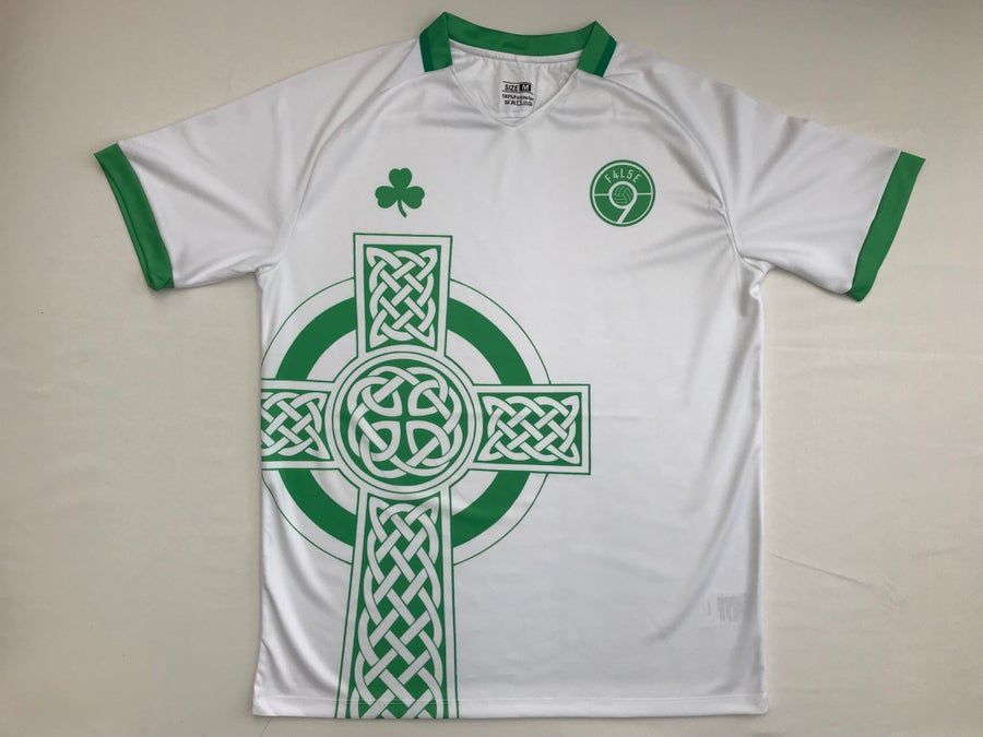 Image of F4L5E 9 White Celtic Cross Football Shirt
