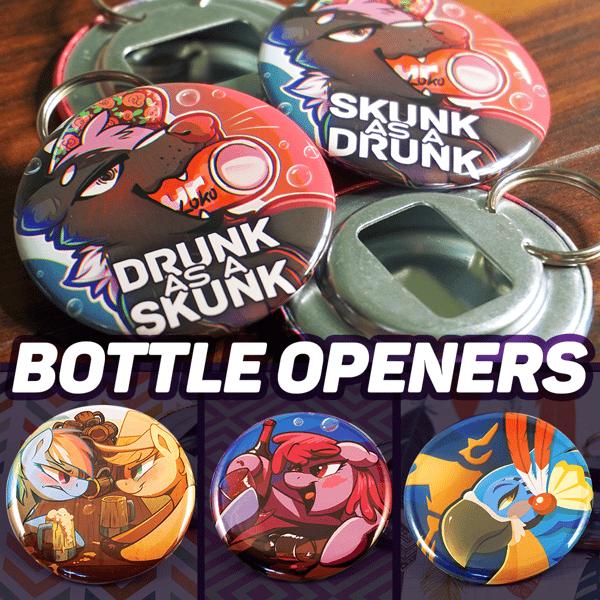 Image of 'Drunk as a Skunk' Bottle Opener
