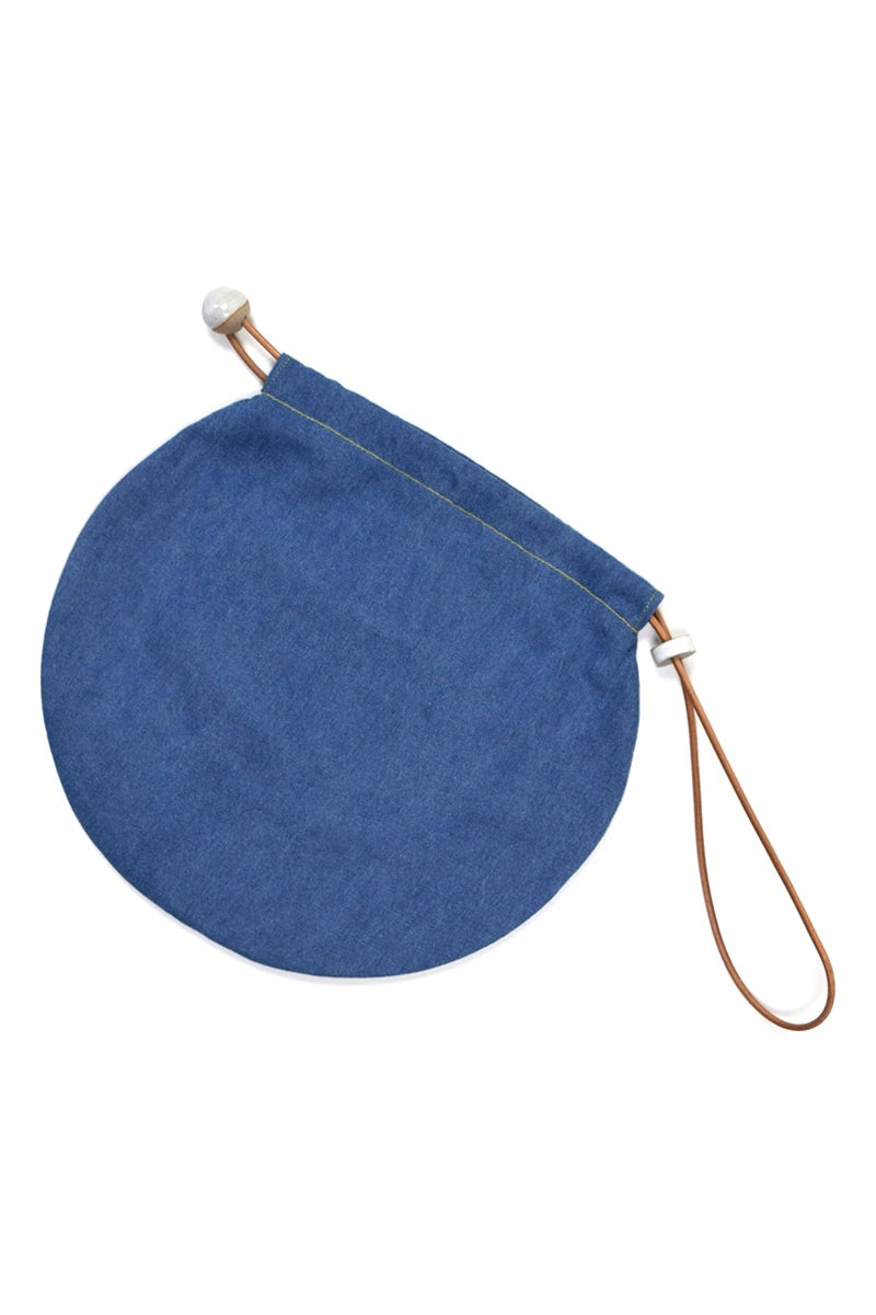 Image of denim circle tote