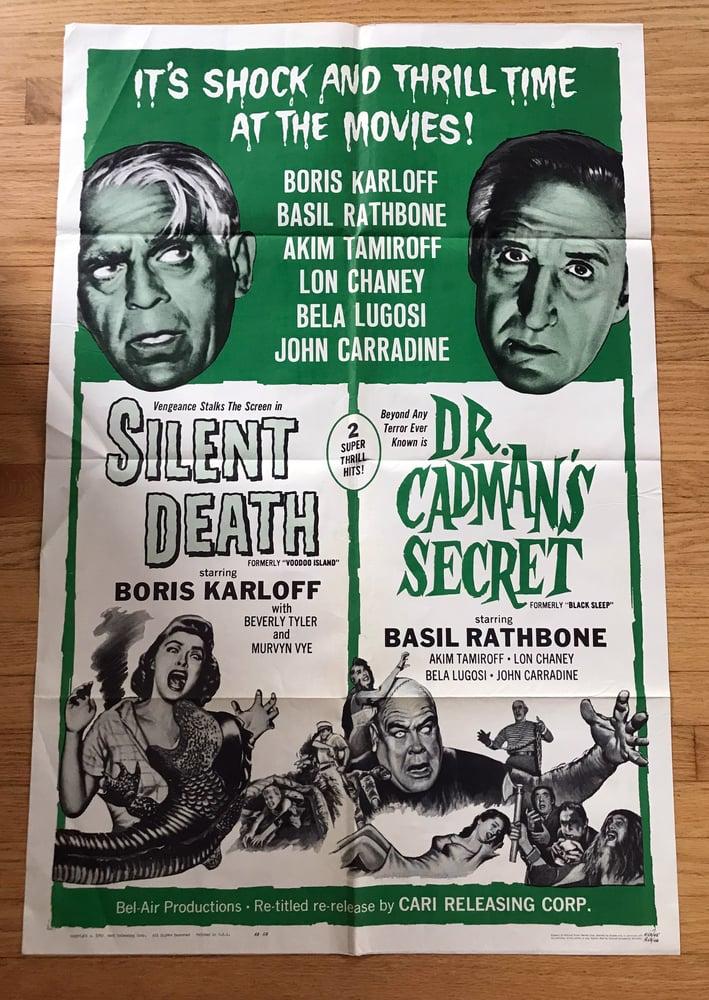 Image of 1963 SILENT DEATH/DR. CADMAN'S SECRET Original U.S. One Sheet Double Bill Movie Poster