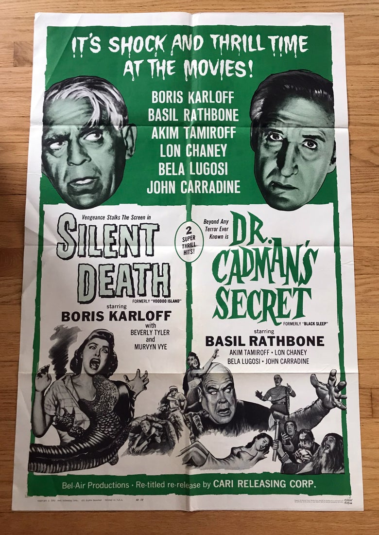 Image of 1963 SILENT DEATH/DR. CADMAN'S SECRET Original U.S. One Sheet Double Bill Movie Poster