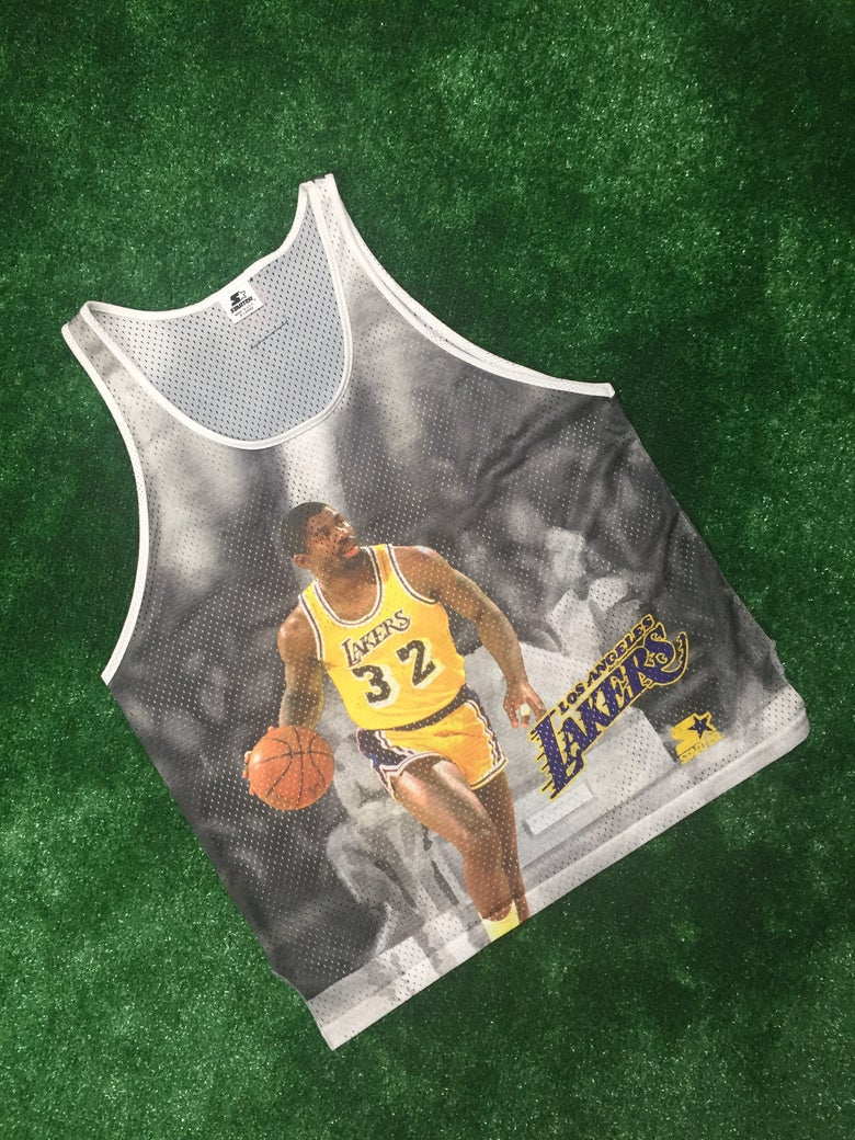 Image of Vintage Magic Johnson Los Angeles Lakers Starter Jersey (Size XL)
