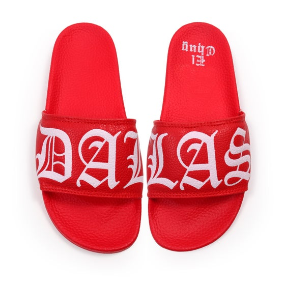 Image of DALLAS RED SLIDES SANDALS (PREORDER)