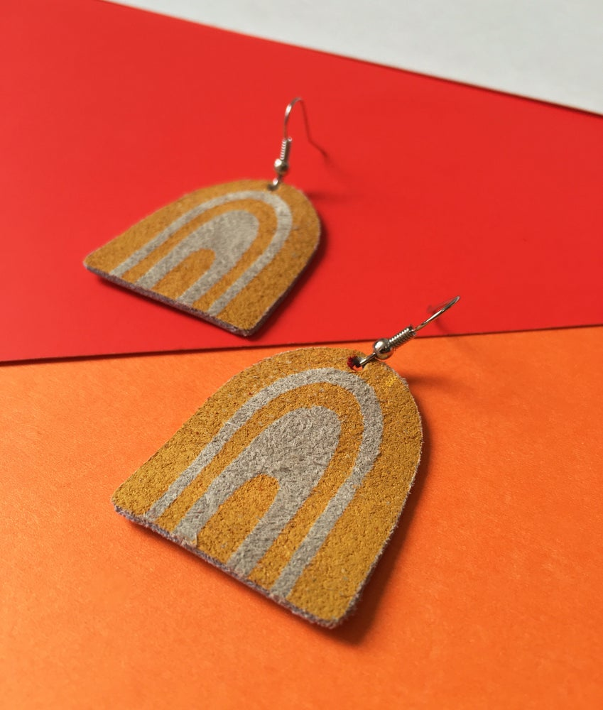 Image of Screen Printed Leather Earrings- Yellow and Gray Rainbows