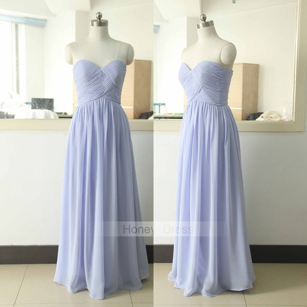 Image of Simple Lilac Sweetheart Chiffon Long Bridesmaid Dress,Lavender Strapless Ruched Prom Dress