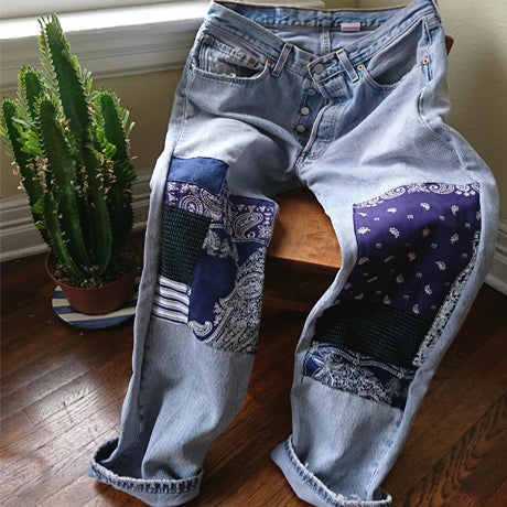 Image of FoxCatchers Patchworked Custom Made Vintage 501 Levi's Jeans
