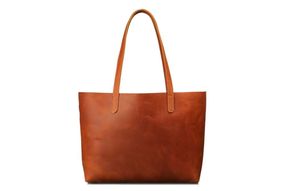Image of Handmade Vegetable Tanned Full Grain Leather Women Tote Bag, Shopping Bag, Shoulder Bag ZB01