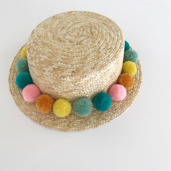 Image of Rainbow Pom Boater Hat
