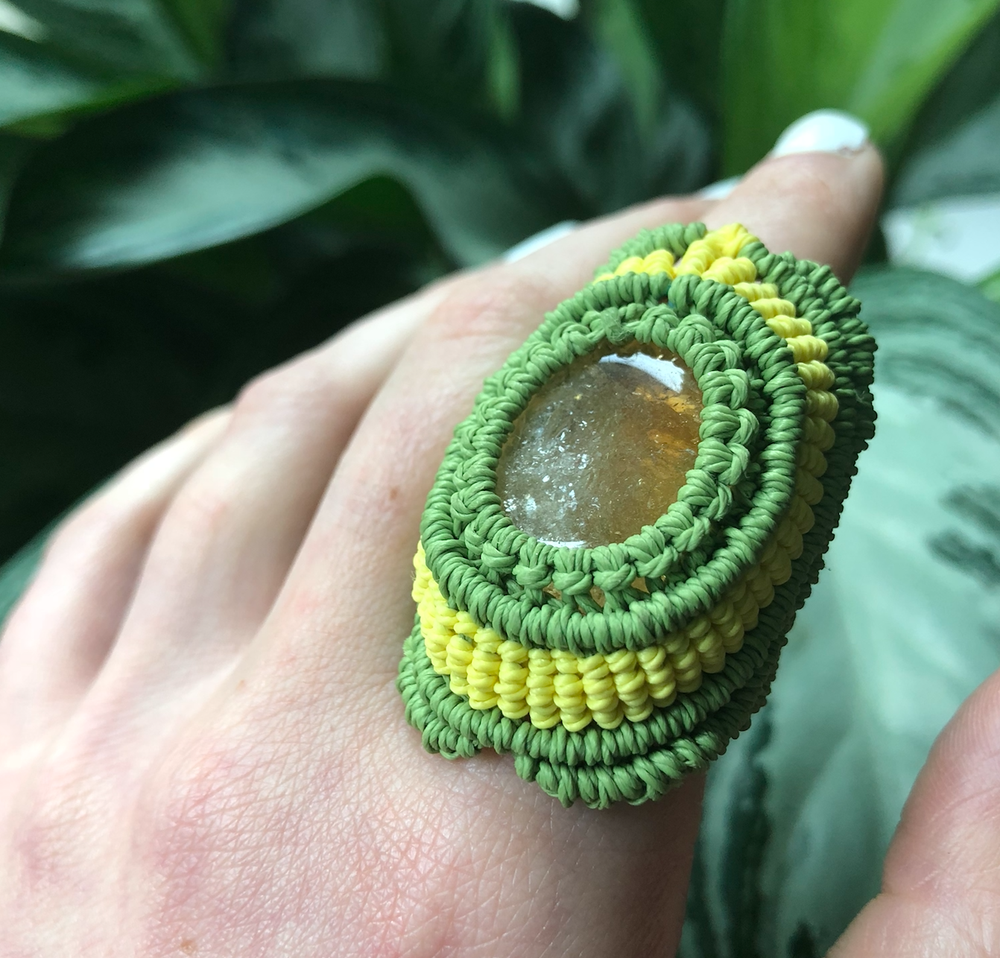"Image of ""Queen Fae"" Golden Citrine Macrame Ring (9.5-10.5)"