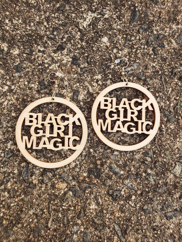 Image of Circle Black Girl Magic Earrings
