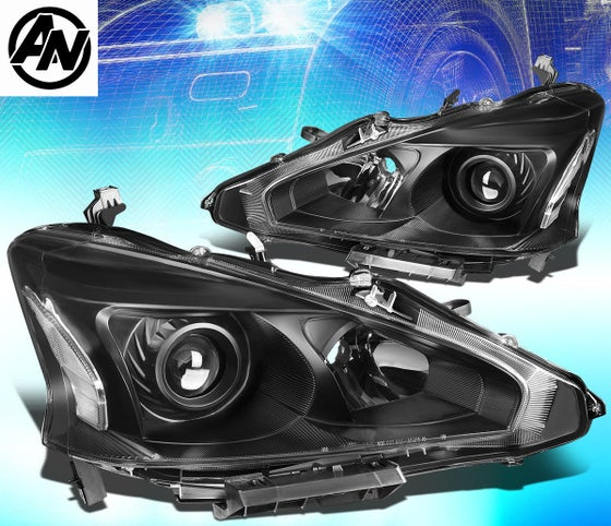 Image of (L33) 13-15 ALTIMA SEDAN 4DR BLACK STYLE PROJECTOR HEADLIGHTS CLEAR CORNERS (Halogen)