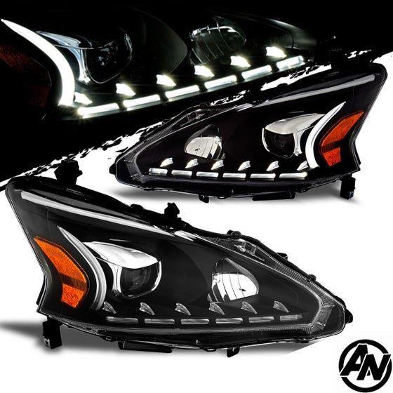 Image of (L33) 13-15 ALTIMA SEDAN 4DR LED DRL BLACK STYLE PROJECTOR HEADLIGHTS (Halogen)