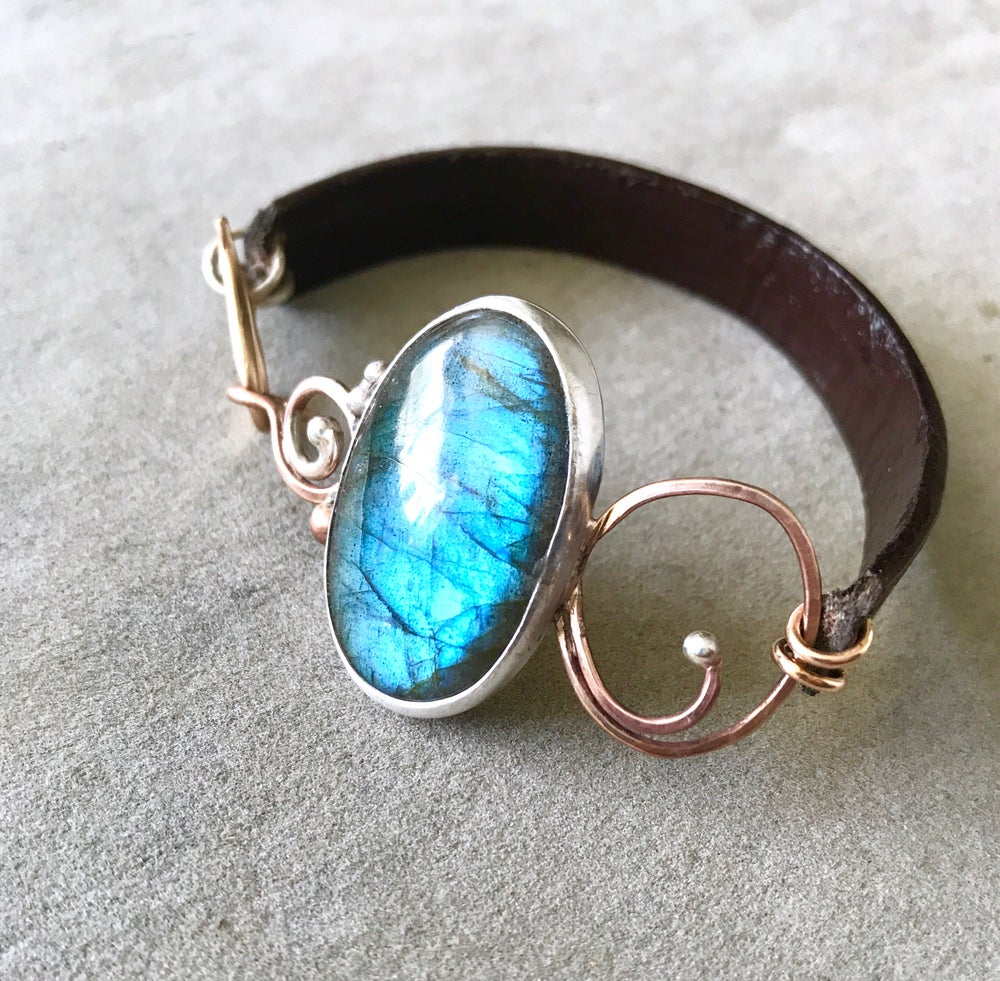 Image of Statement Labradorite silver and bronze leather cuff bracelet