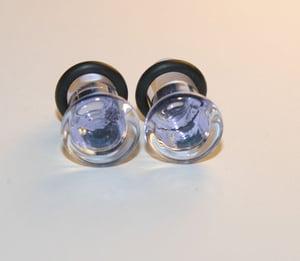2 gauge PALE PURPLE BLUE Glass Ear Plugs Body Jewelry 6mm
