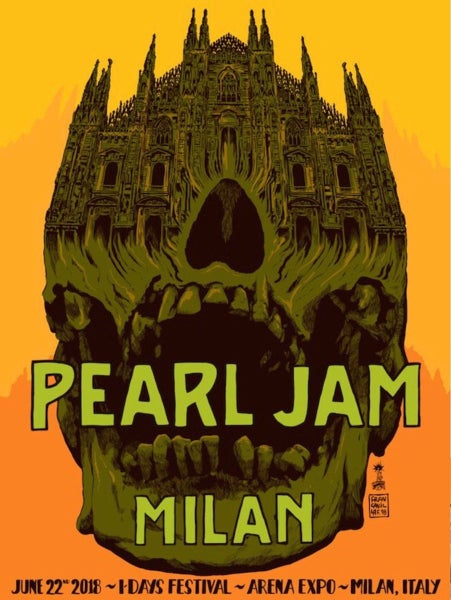 Image of Pearl Jam Milan 2018 official tour poster