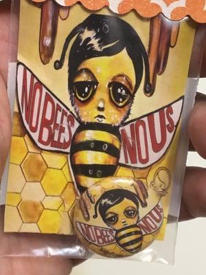 Image of Micro Mini Button Pin and Print Set - No Bees No Us