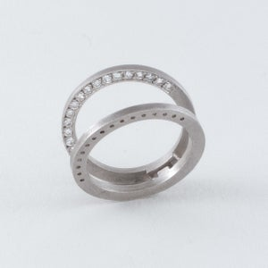 Image of INFINITY FOLDING RING W/WHITE DIAMONDS / VARIATION THREE / MATT