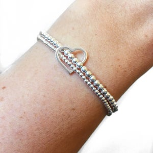 Image of Sterling Silver Double Heart Bracelet