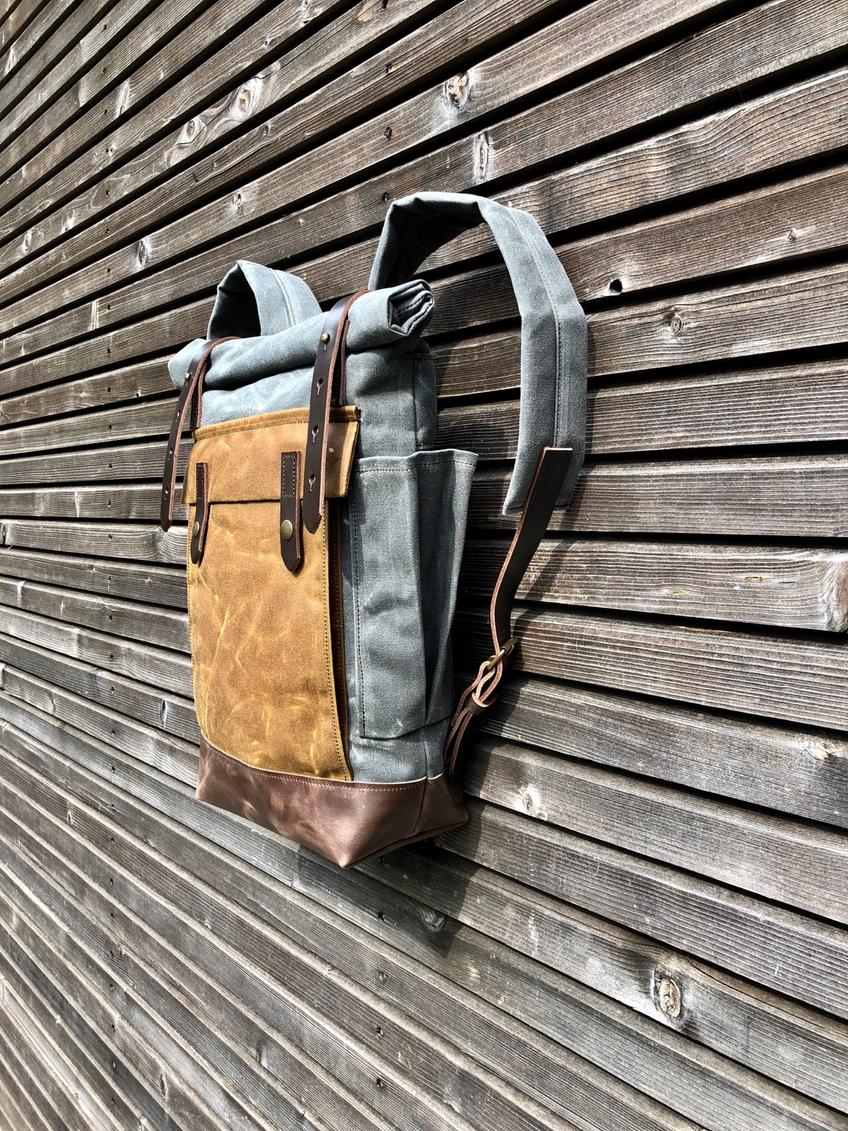 Image of Waxed canvas leather rucksack medium size / Hipster Backpack with roll up top and leather bottom