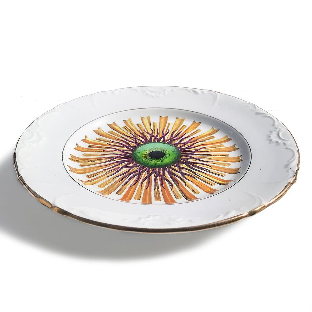 Image of Medusa Burst - Green Eye - Vintage Ceramic Plate - #0617