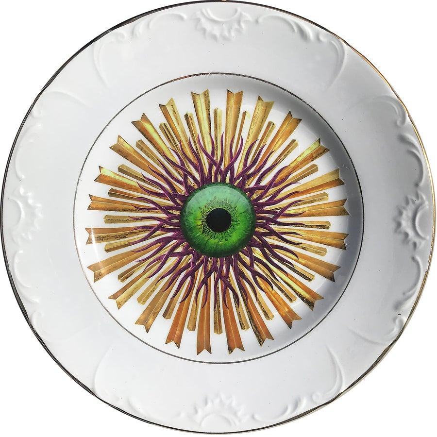 Image of Medusa Burst - Green Eye - Vintage Ceramic Plate - #0617