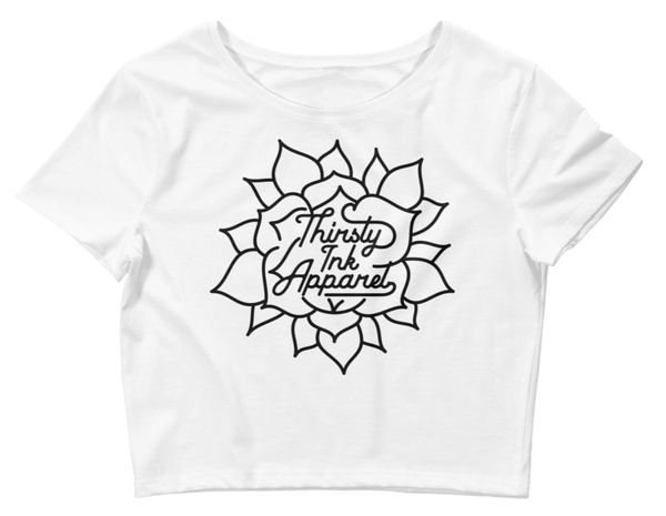 Image of Thirsty Ink Flower Crop Top White
