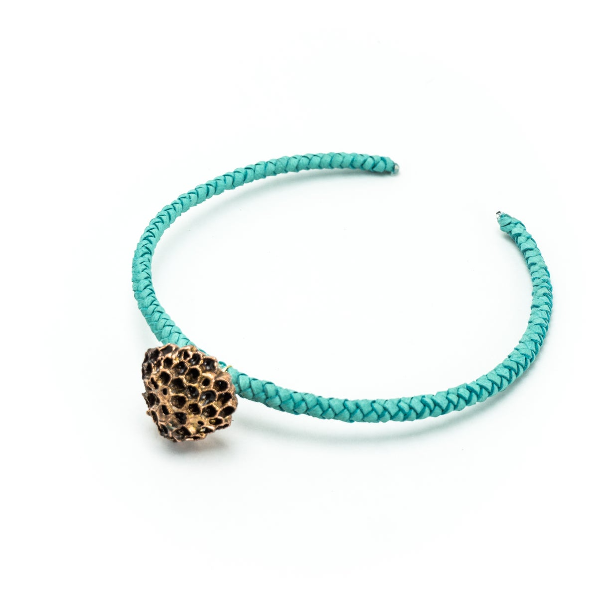Image of Turquoise Leather Wasp Nest Choker