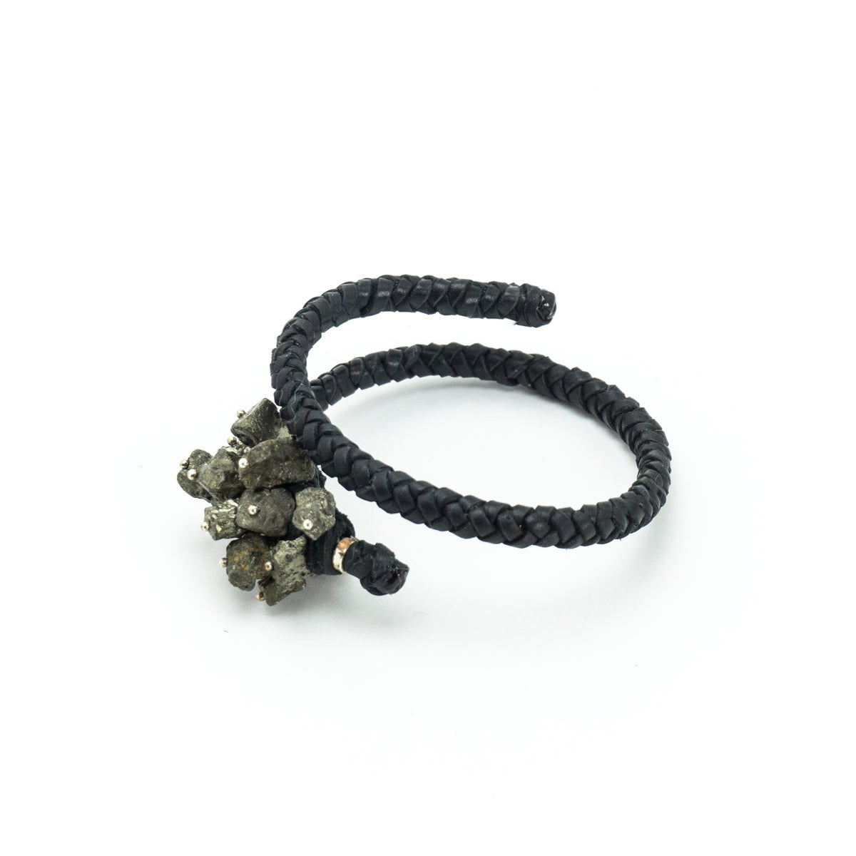 Image of Pyrite Braided Leather Cuff
