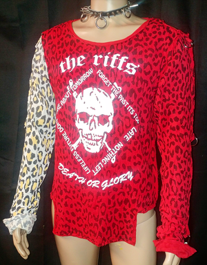 Image of The Riffs red leopard print bondage shirt