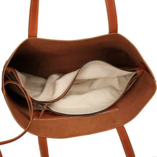 Image of Handmade Vegetable Tanned Full Grain Leather Women Tote Bag, Shopping Bag, Shoulder Bag ZB01