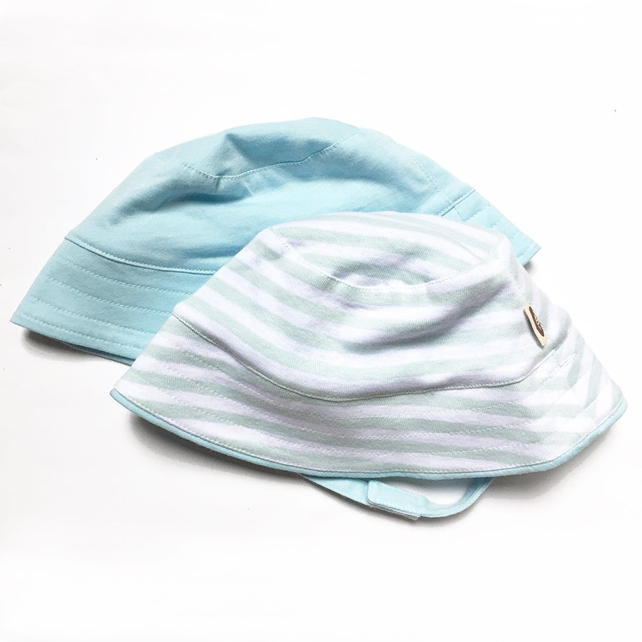 Image of Shade Me Reversible Sunhat . Blue Stripe