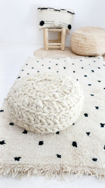 Image of BENIOUARAIN -  Moroccan Wool Rug - Black and White