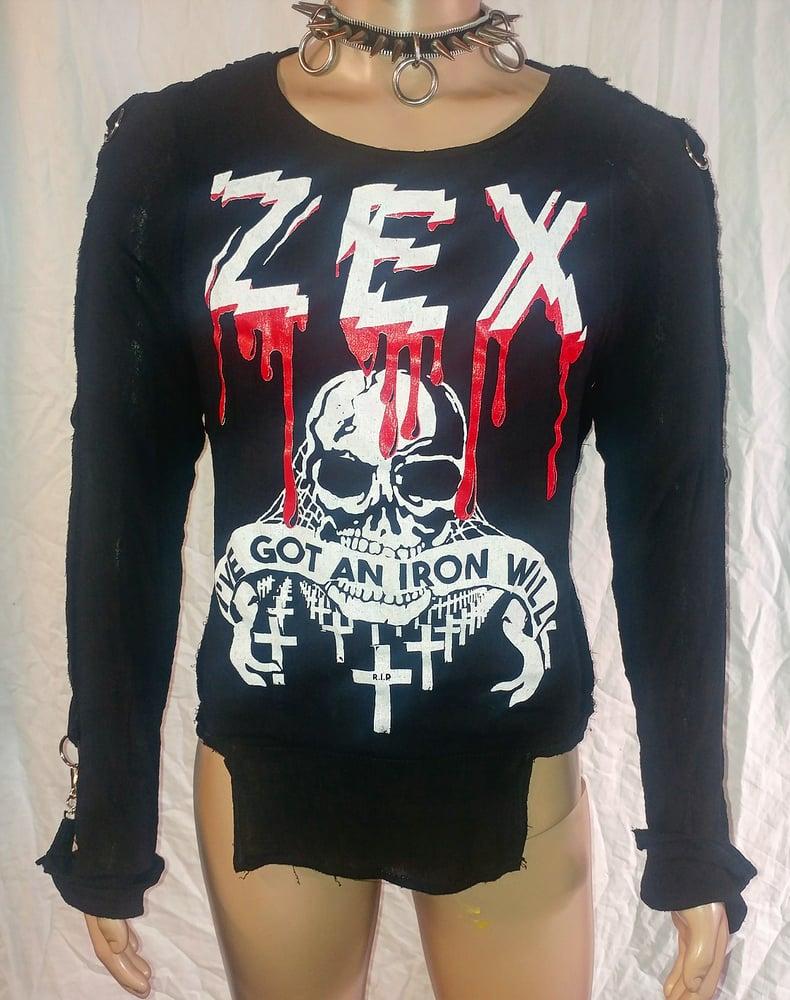 Image of Zex Iron Will black bondage shirt