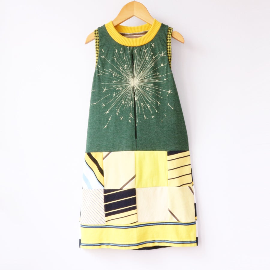 Image of blackbird supply sparkler 6/7 green forest yellow patchwork dress