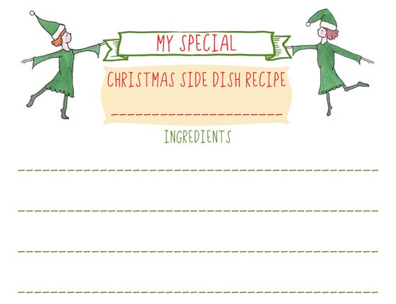 Image of christmas recipe greeting & sharing card set