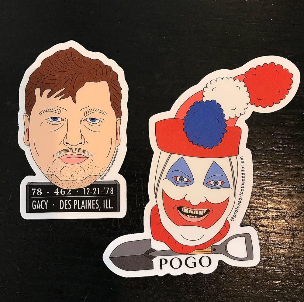 Image of Die Cut John Wayne Gacy & Pogo The Clown Vinyl Stickers
