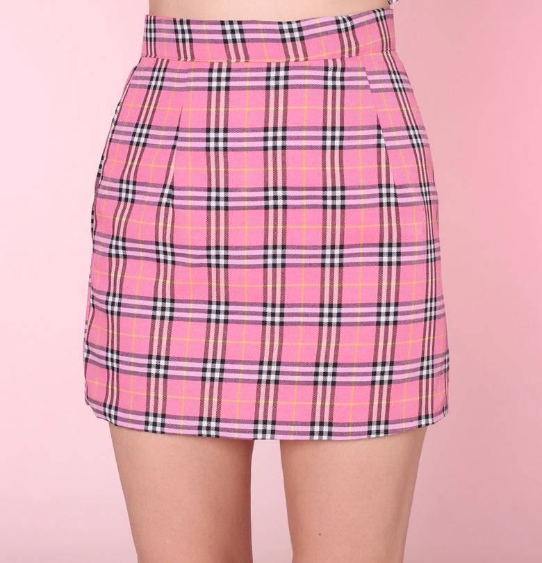 Image of Pink Tartan Mini Skirt