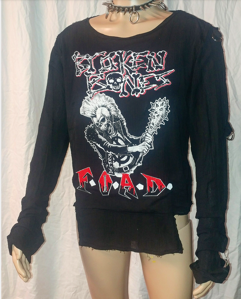 Image of Broken Bones F.O.A.D. black bondage shirt