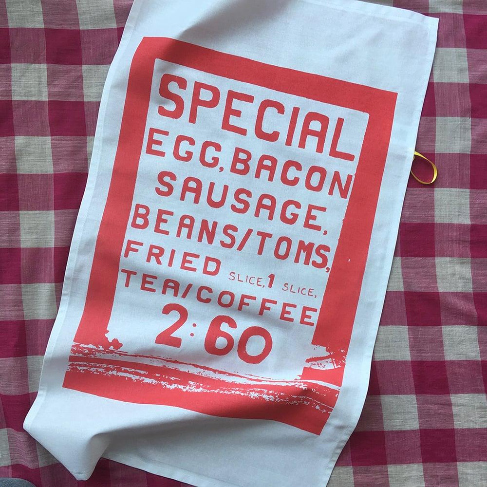 Image of Big Breakfast tea towel - coral red