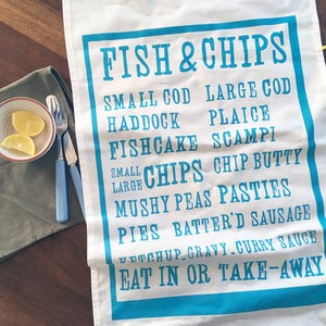 Image of Fish & Chips tea towel - aqua blue