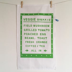 Image of Veggie Brekkie menu tea towel