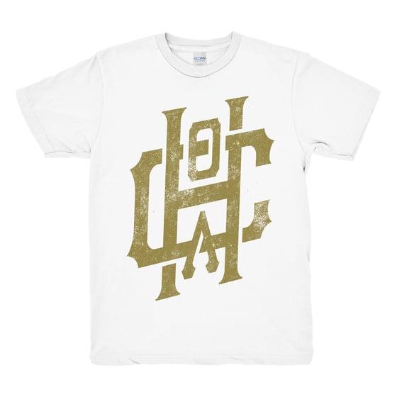 Image of Metallic Gold Emblem Tee - White