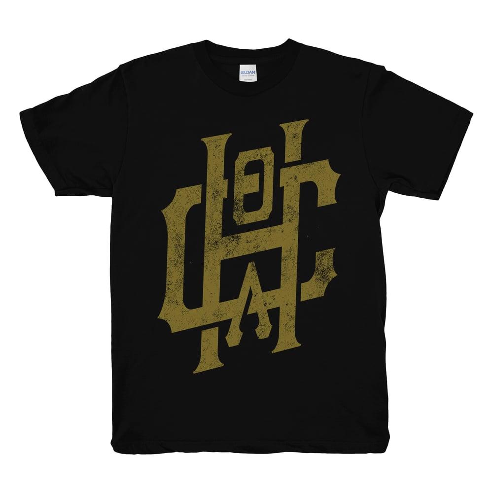 Image of Metallic Gold Emblem Tee - Black