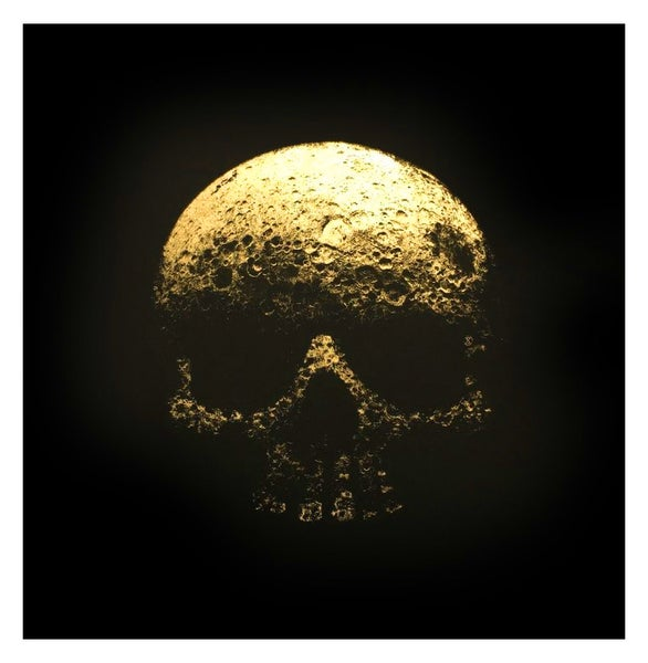 Image of 'Legacy' Moon Skull - Gold Leaf