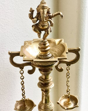 Image of Tall Ganesha Brass Lamp