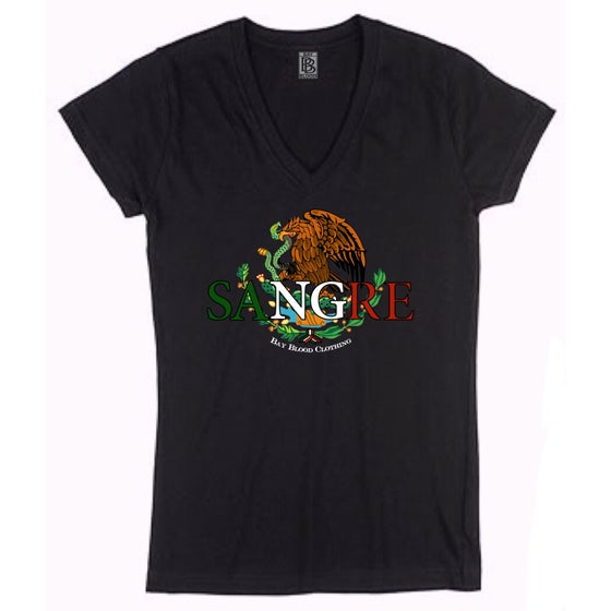 Image of Ladies Mexican Sangre Vneck (Black)