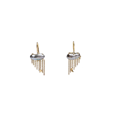 Image of Un Hada Nimbus Pearl Earrings (Gray or White)