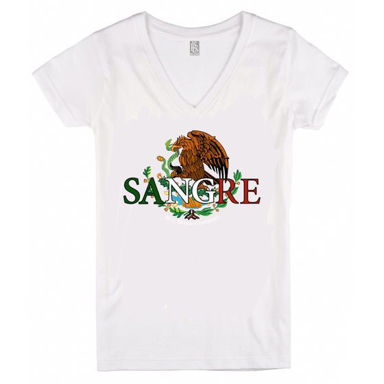 Image of Ladies Mexican Sangre Vneck (white)