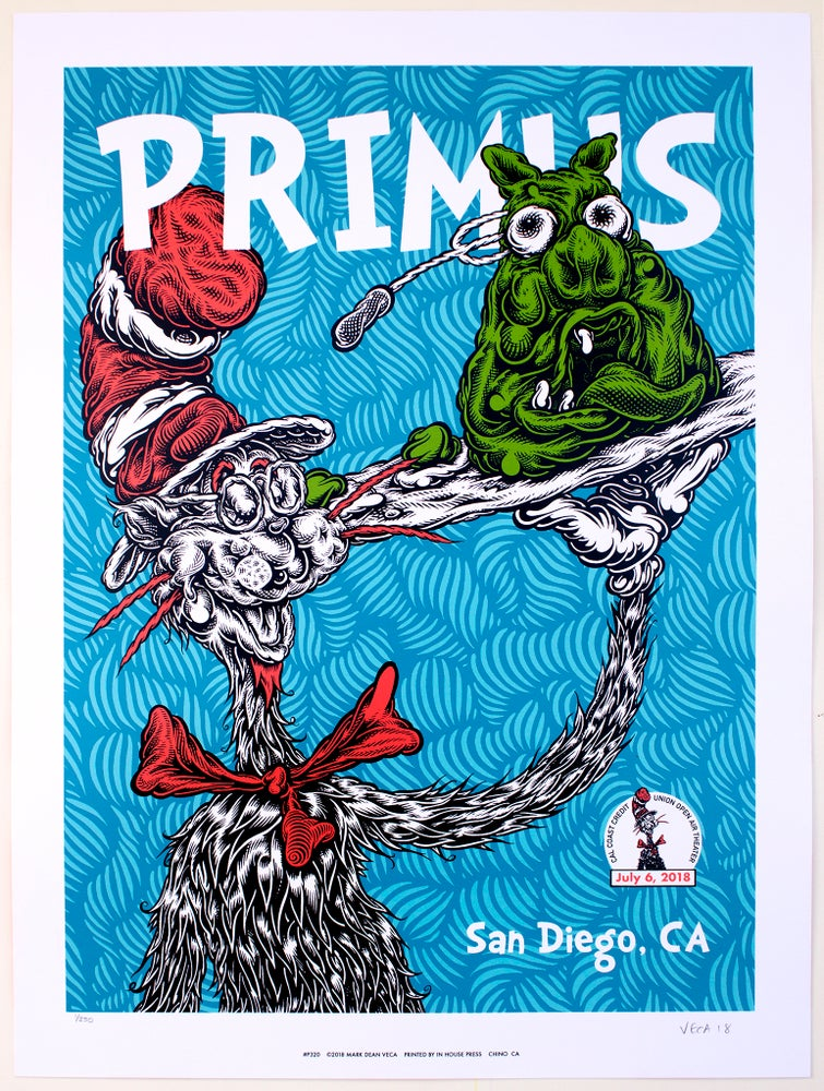 Image of Primus Gig Poster: Green Eggs and Pork, 2018 (Main Edition with Flipside)